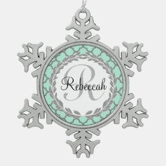 Pretty Green and Gray Quatrefoil Monogram Name Pewter Snowflake Ornament