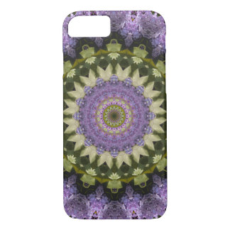 Pretty Green and Purple Lilac Floral Mandala iPhone 8/7 Case