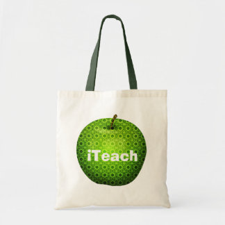 Pretty Green Apple Teacher's Tote Bag