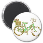 Pretty Green Bicycle with Tulips Magnet