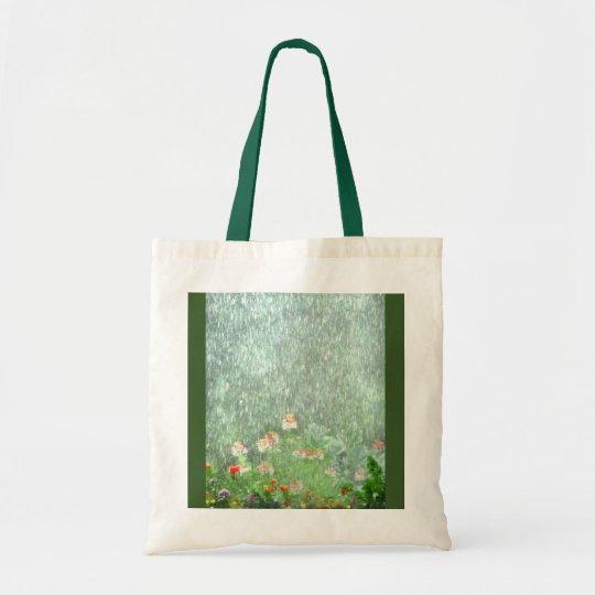 Pretty Green Flower Garden in Rain Tote Bag