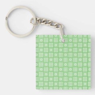 Pretty Green Flower Patchwork Quilt Pattern Double-Sided Square Acrylic Keychain