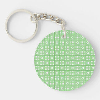 Pretty Green Flower Patchwork Quilt Pattern Single-Sided Round Acrylic Keychain