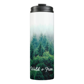 Pretty Green Forest Wild & Free Thermal Tumbler