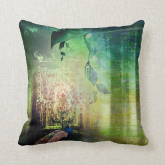 Pretty Green Gates of Paradise Peacock Forest Throw Pillow