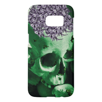 Pretty Green Glitter Skull with Purple Posy Hat Samsung Galaxy S7 Case