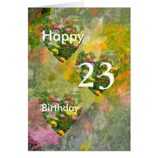 Pretty Green Hearts 23rd Birthday Card