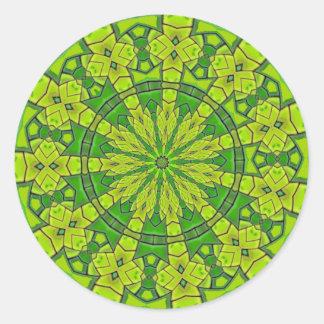 Pretty Green Kaleidoscope Feminine Mandala Flower Classic Round Sticker