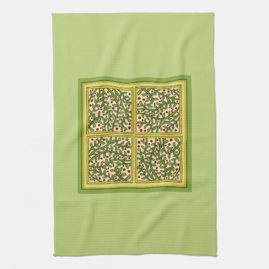 Pretty Green Leaf Vine Berry Panels Kitchen Towels