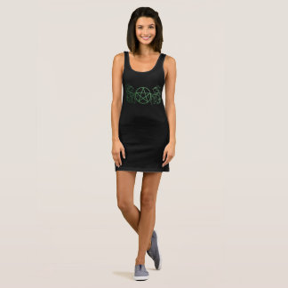 Pretty green pentacle fluer sleeveless dress