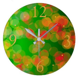 Pretty Green Red Gold Spots> Patterned Clocks