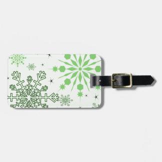 Pretty Green Snowflakes Luggage Tag