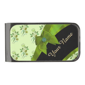 Pretty green vintage floral flower pattern gunmetal finish money clip