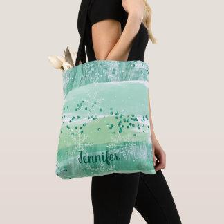 Pretty Green Watercolor Winter Christmas Pattern Tote Bag