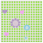 Pretty Green White Spots Ditsy Flowers And Hearts Fabric