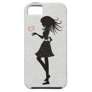 Pretty Grey Damask Silhouette Girl iPhone 5 Case