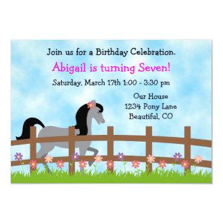 Pretty Grey Horse with Flowers Birthday Invitation