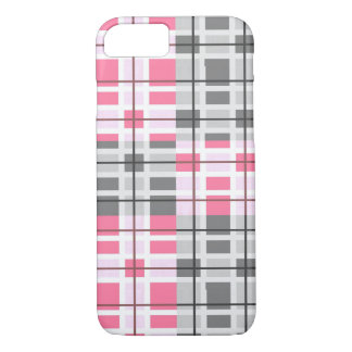 Pretty Grey, Pink, And White Plaid Pattern iPhone 7 Case