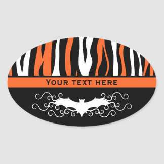 Pretty Halloween zebra pattern Oval Sticker