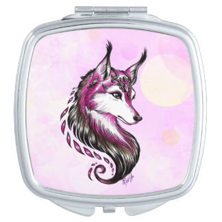 Pretty Hand Drawn Wolf Makeup 2 Mirror Compact Travel Mirrors