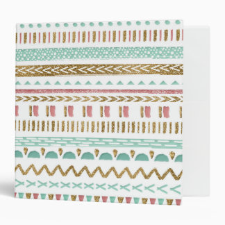 Pretty hand paint tribal Aztec geometric design 3 Ring Binder