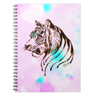 Pretty Hand Painted Chocolate Tiger Art Notebook