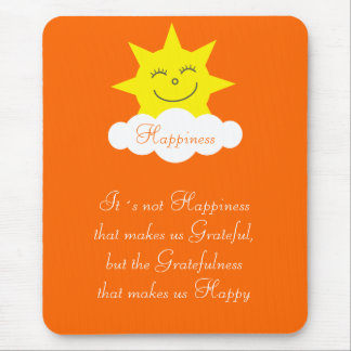 Pretty Happiness & Gratitude Happy Sun Orange Mouse Pad