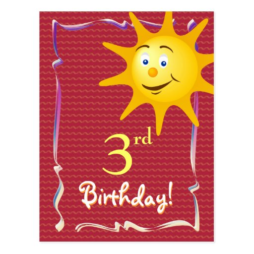 Pretty Happy Birthday postcard with cute sun