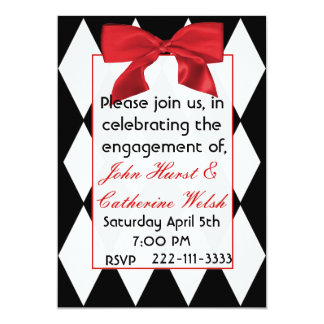 Pretty Harlequin engagement party Invitation