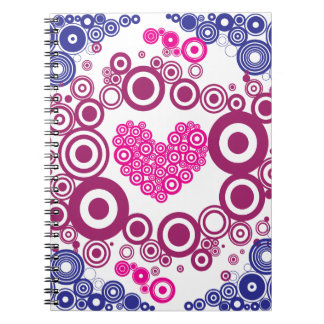 Pretty Heart Concentric Circles Girly Teen Design Notebook