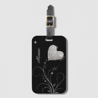 pretty heart flower luggage tag