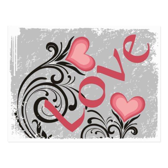 Pretty Heart Flowers LOVE Grunge Postcard