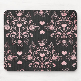 pretty heart pink damask on washed black mouse pad