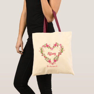 Pretty Heart Shaped Bridesmaid Tote Bag