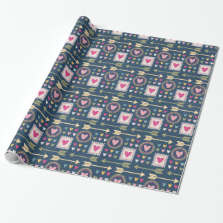 Pretty Hearts  & Arrows Blues - All Options Wrapping Paper