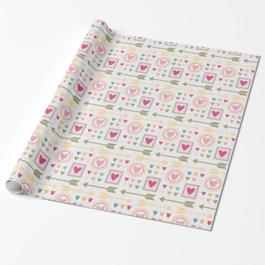 Pretty Hearts  & Arrows Pastels- All Options Wrapping Paper