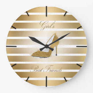 "Pretty High heels shoe ""Girls best Friends"" Large Clock"