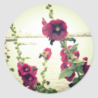 Pretty Hollyhock Floral Classic Round Sticker