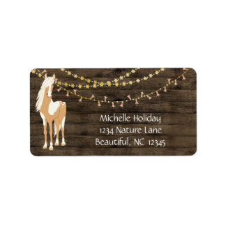 Pretty Horse and Flowers Rustic Wood Address Label