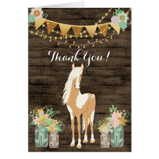 Pretty Horse and Flowers Rustic Wood Thank You Card
