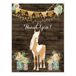 Pretty Horse and Flowers Rustic Wood Thank You Postcard