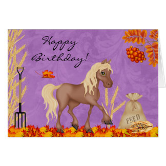 Pretty Horse in Autumn Leaves Happy Birthday Card