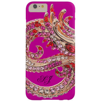 Pretty Hot Pink Bejeweled Monogram Barely There iPhone 6 Plus Case