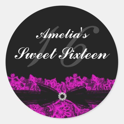 Pretty Hot Pink & Black Lace Sweet 16 Sticker