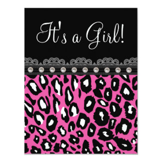 "Pretty Hot Pink Leopard Baby Shower 4.25"" X 5.5"" Invitation Card"