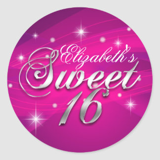 Pretty Hot Pink Sparkle Sweet Sixteen Sticker