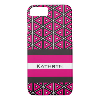 Pretty Hot Pink Symmetry w/Personalization iPhone 8/7 Case