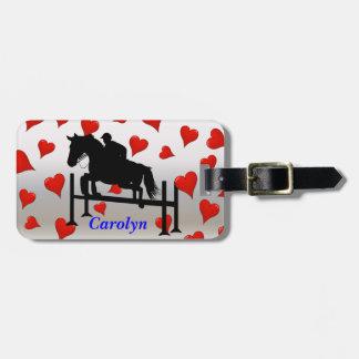 Pretty Hunter Jumper Horse & Rider Luggage Tag