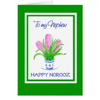 Pretty Hyacinths Persian New Year, for Nephew Card