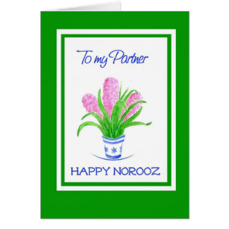 Pretty Hyacinths Persian New Year for Partner Card